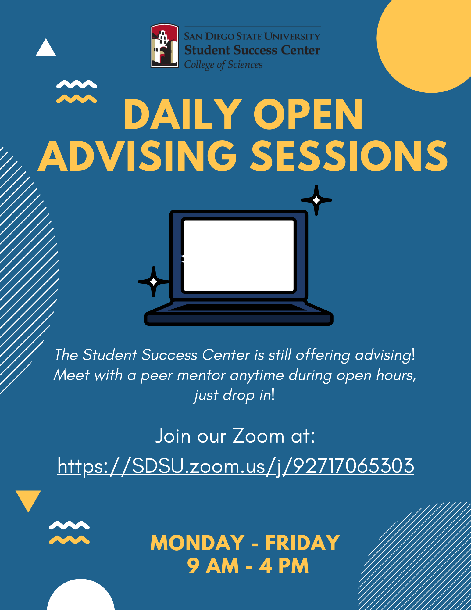 Virtual peer advising flyer with zoom link and hours