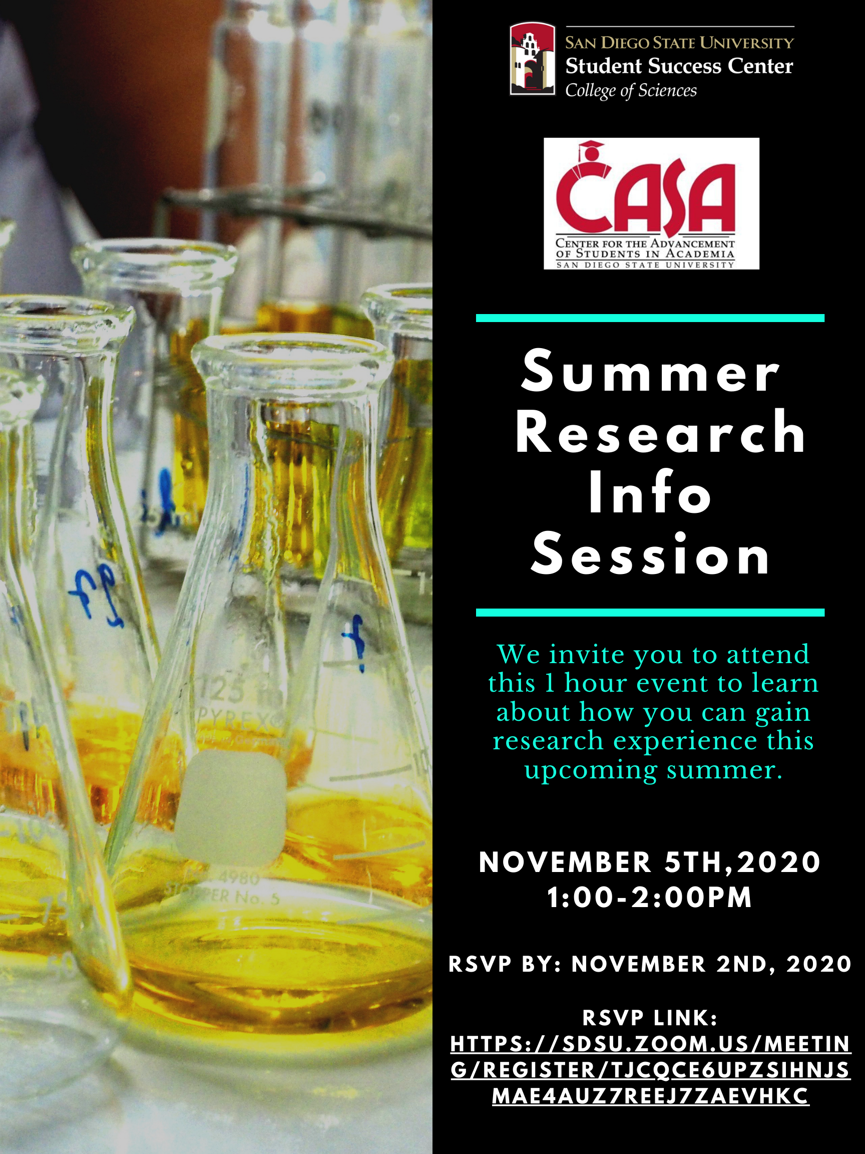 Summer research info session flyer