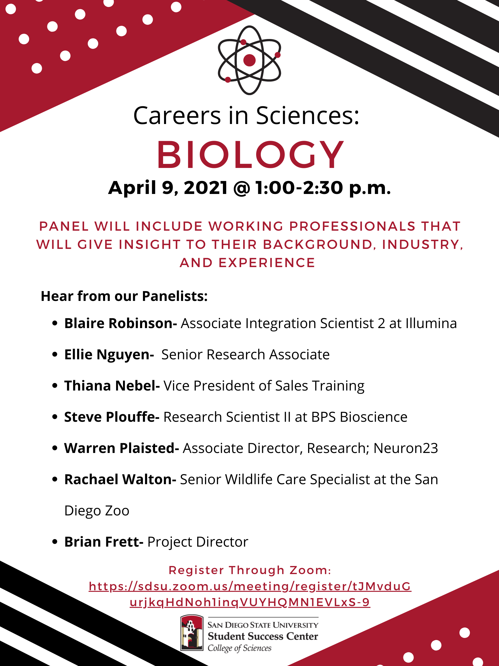 Biology Career Panel Flyer with Panelists names