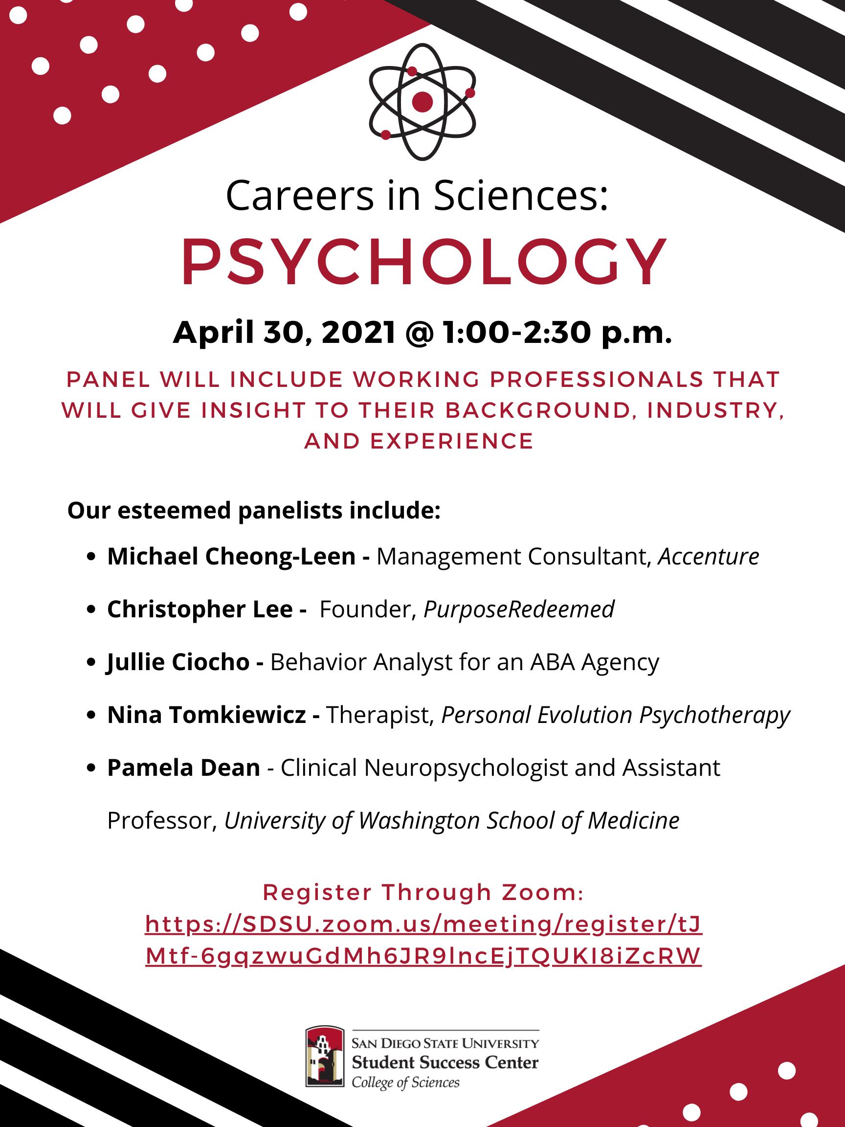 Psychology Career Panel flyer